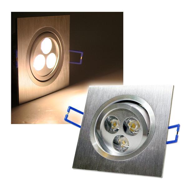 Alu LED-Einbauleuchte eckig 3x1W warm weiß 230V