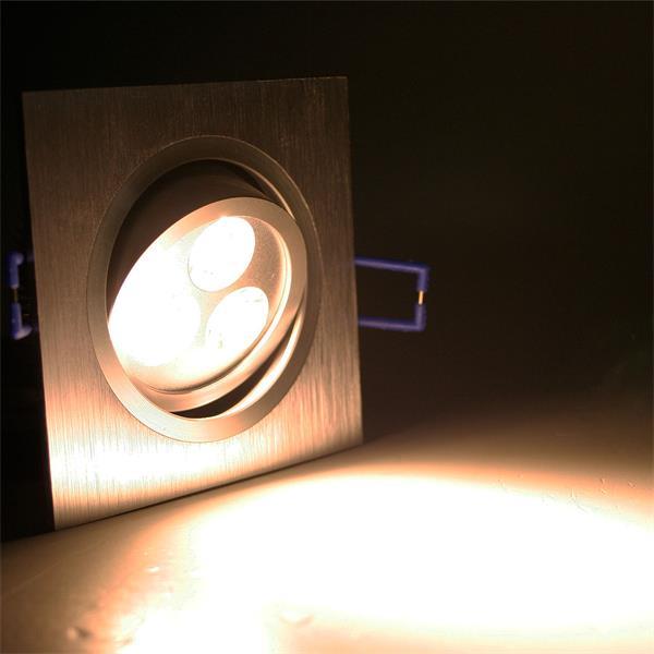 LED Einbauspot eckig mit 3x 1W Hochleistungs-LEDs und ca. 240lm Lichtstrom