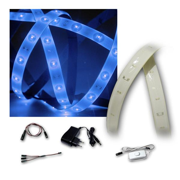 Lichtband Set Blau, 2x1,2m, PCB-weiß, 2x 60 LEDs
