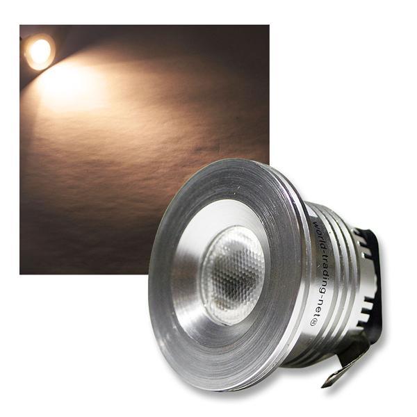 LED-Einbaustrahler 3W CREE warm weiß 12V DC - Alu
