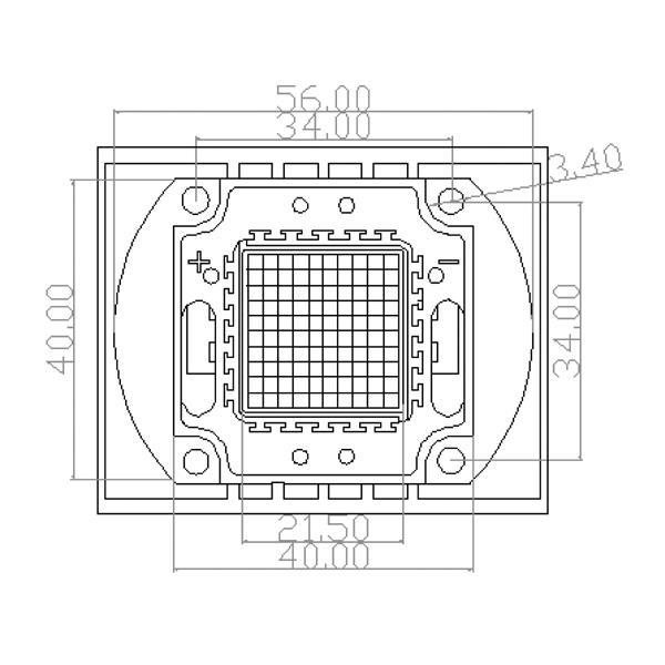 Abmessungen der HighPower LED mit 50W