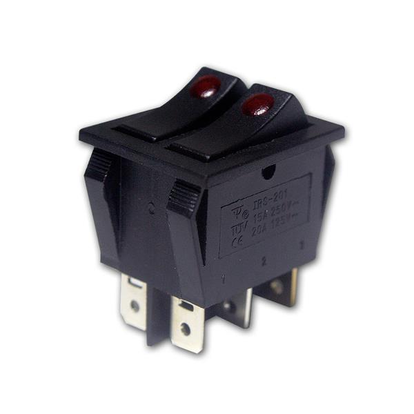 Doppel-Wippenschalter 1-polig, rot beleuchtet 230V