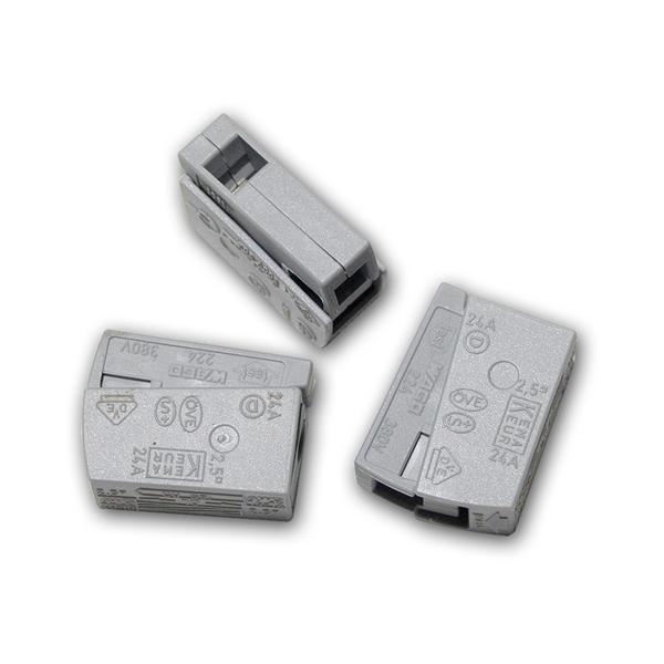 10 Stück WAGO Leuchtenklemme, 1x 1,0-2,5mm², grau