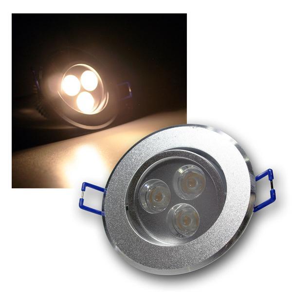 Alu LED-Einbauleuchte rund 3x2W warm weiß 230V