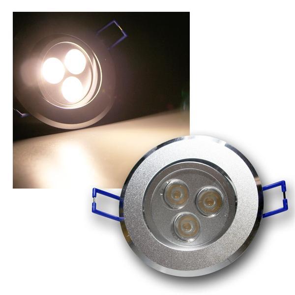 Alu LED-Einbauleuchte rund 3x3W warm weiß 230V
