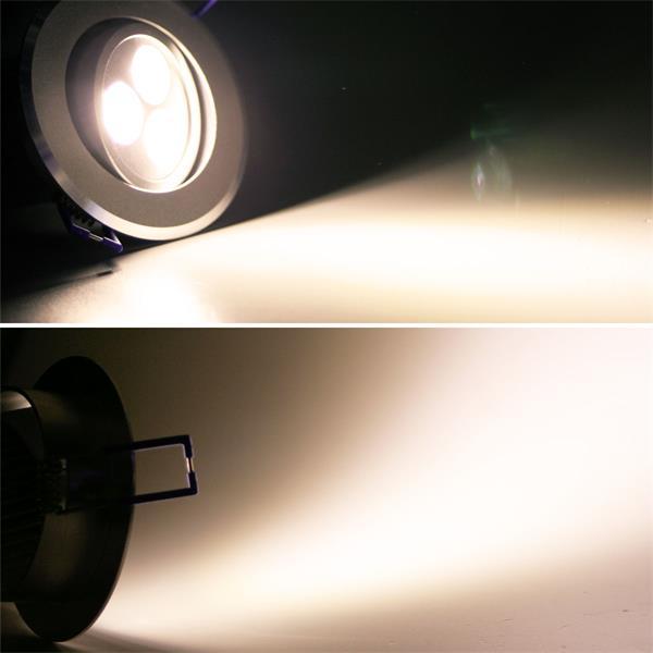 LED Einbauspot rund mit unglaublichen 400lm Lichtstrom aus 3x 3W Hochleistungs-LEDs