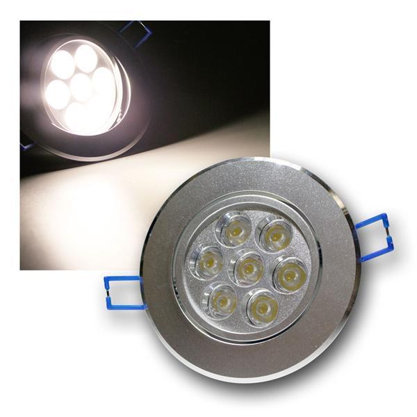 Alu LED-Einbauleuchte rund 7x1W daylight 230V