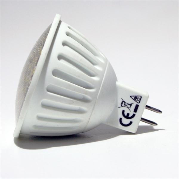 MR16 LED Energiesparlampe mit dem Maß 50x56mm und abschließender Front mit Glas Cover