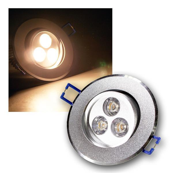 Alu LED-Einbauleuchte rund 3x1W warm weiß 230V
