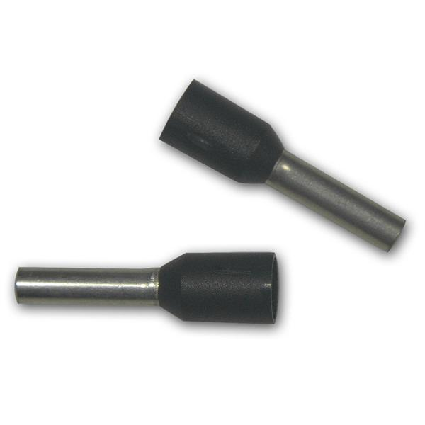 100 Aderendhülsen, schwarz isoliert, 1,50mm², 14mm