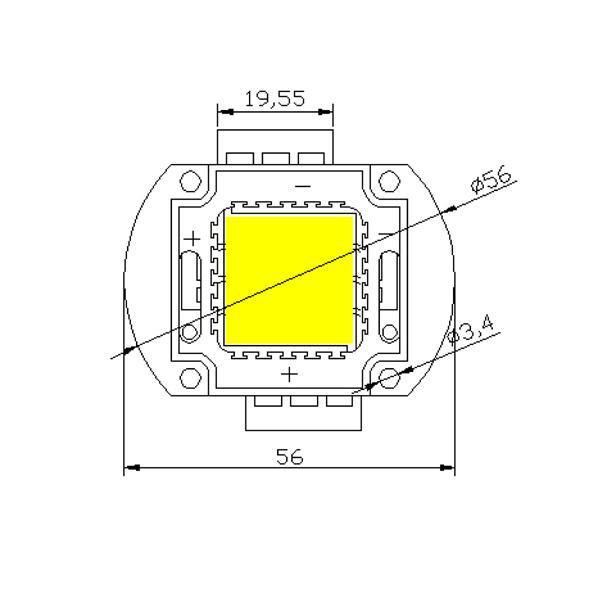 Abmessungen der HighPower LED mit 30W