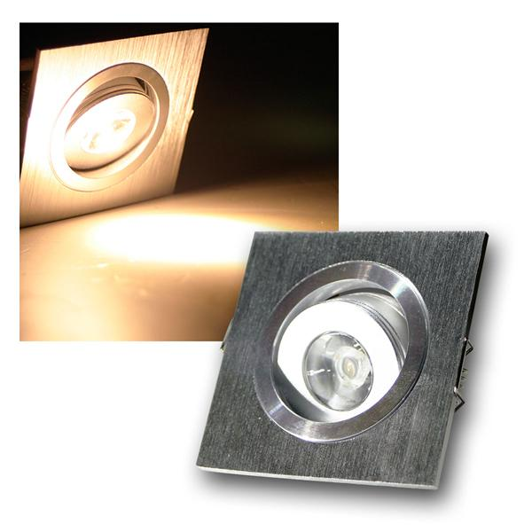 LED-Einbauleuchte QD-1 1W 80lm ECKIG warm weiß