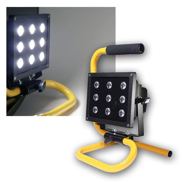 LED Baustrahler mit Akku, 9x2,5W LEDs IP44, 2000lm