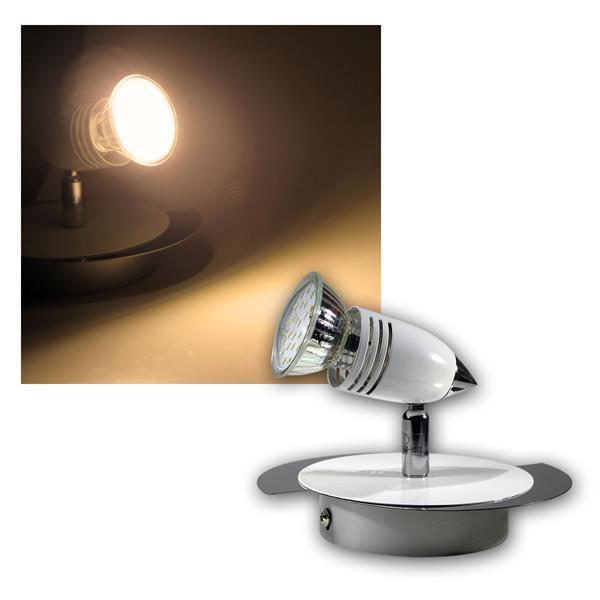 """Spot-Leuchte """"CW"""" 1-flg, Chrom/Weiß, warmweiß 2,5W"""
