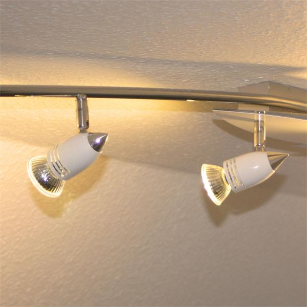 LED Wohnraumleuchte im modernen Materialmix und GU10 LED Leuchtmittel