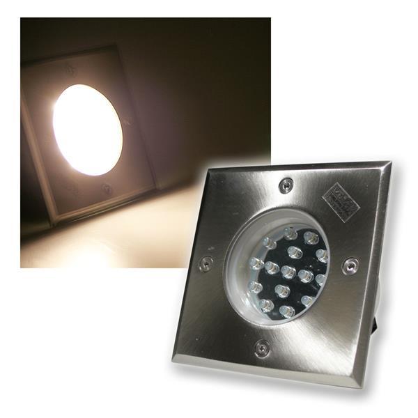Bodenleuchte BEL 15Q IP67 15 LEDs warm weiß eckig