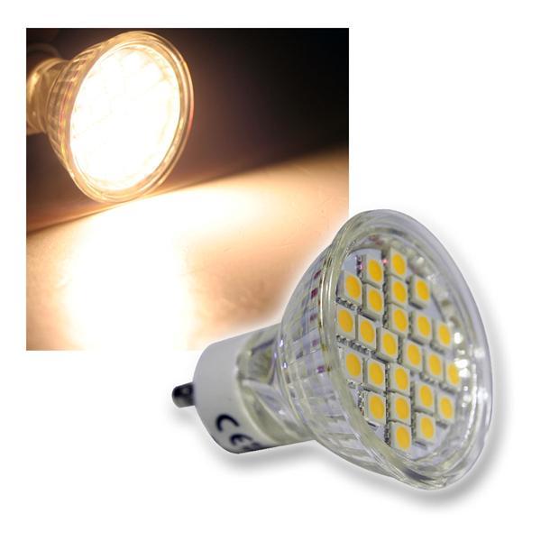 GU10 LED-Strahler 24x 3-Chip LEDs warm weiß 230V 5W