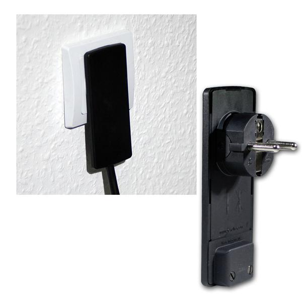 EVOline Plug Flächen-Winkelstecker, 250V/16A, schw