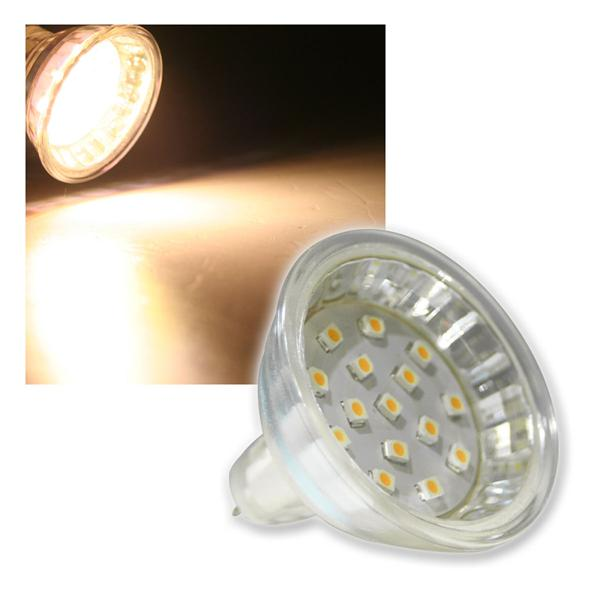 MR16 Strahler H10 SMD 15 LEDs warm weiß 50lm 120°