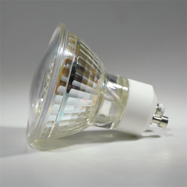 GU10 LED Energiesparlampe mit dem Maß 50x55mm und abschließender Front mit Glas Cover