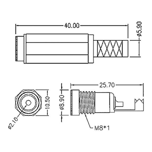 Abmessungen für 2-polige DC Kupplung mit 2,1mm Pin