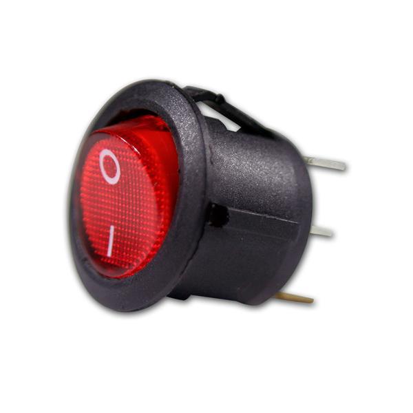 Wippschalter 1-polig EIN/AUS, rot beleuchtet 12V
