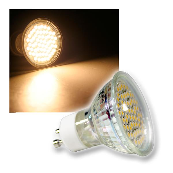 LED-Strahler 60x 3528 SMD LEDs GU10 warm weiß 3W