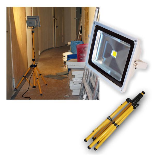 LED-Baustrahler/Fluter 50W mit Stativ IP44 3700lm
