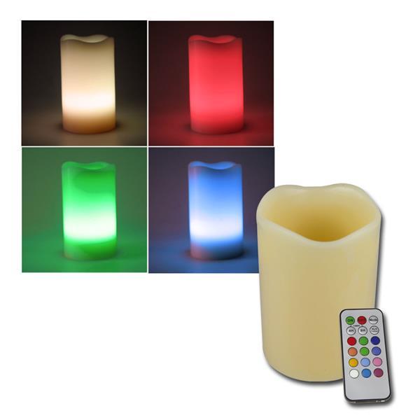 LED Echtwachs-Kerze RGB ØxL 7x15cm + Fernbedienung
