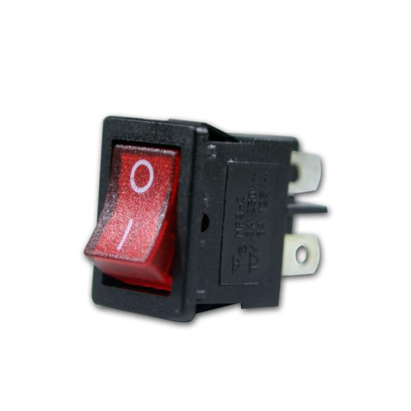Mini-Wippenschalter rot, 2-polig, max. 250V/3A