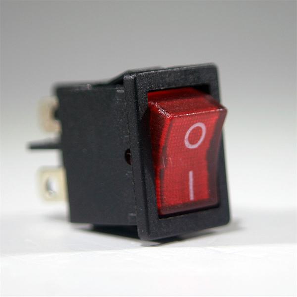 2-poliger Wippschalter für Snap-In Montage mit roter Wippe