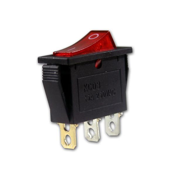Wippschalter1-polig rote Wippe beleuchtet 230V/15A