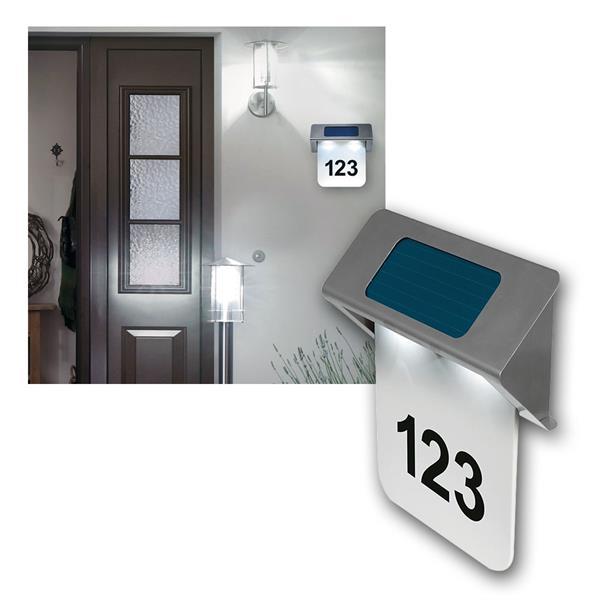 Solar LED Hausnummernleuchte NELSON Edelstahl IP44
