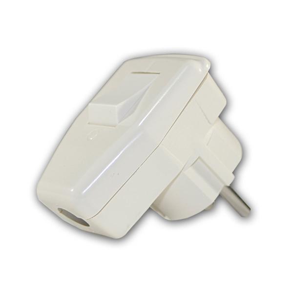 Schuko-Winkelstecker mit Schalter, 230V/16A, weiß