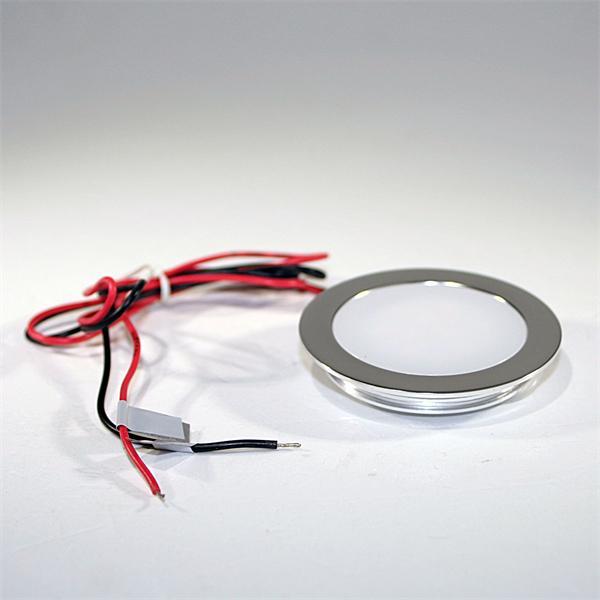 LED Einbauspot rund in einem matten Aluminiumgehäuse und 50cm Anschlusskabel