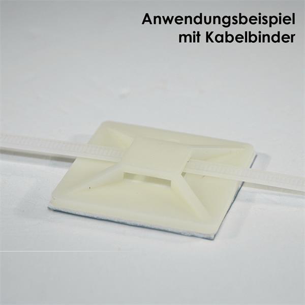 selbstklebender Sockel zur einfachen Montage und Fixierung von Kabelbindern
