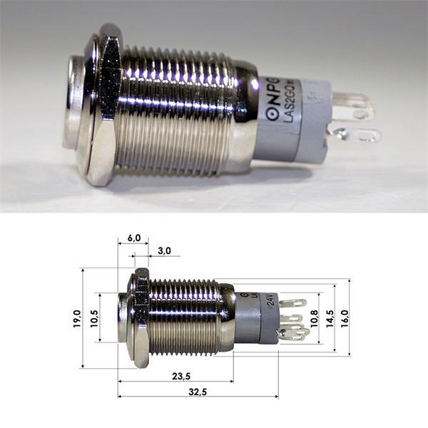 Schalter mit Ein- und Ausrastfunktion, Schaltleistung von maximal 230V/3A
