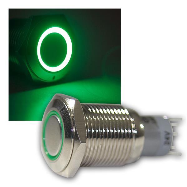 Druck-Schalter Metall, 230V/3A, Beleuchtung Grün