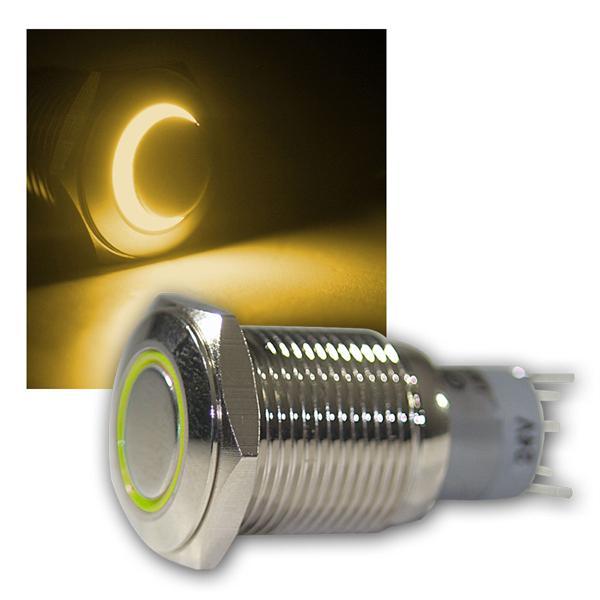Druck-Schalter Metall, 230V/3A, Beleuchtung Gelb