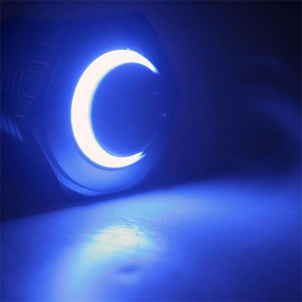 Schalter mit blauer LED Ringbeleuchtung, Spannung 6 bis 24V AC/DC