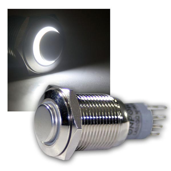 Druck-Schalter Metall, 230V/3A, Beleuchtung Weiß