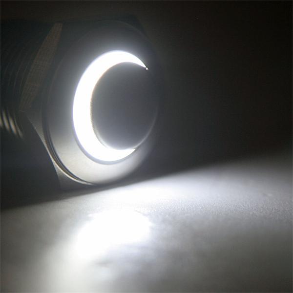 Schalter mit weißer LED Ringbeleuchtung, Spannung 6 bis 24V AC/DC