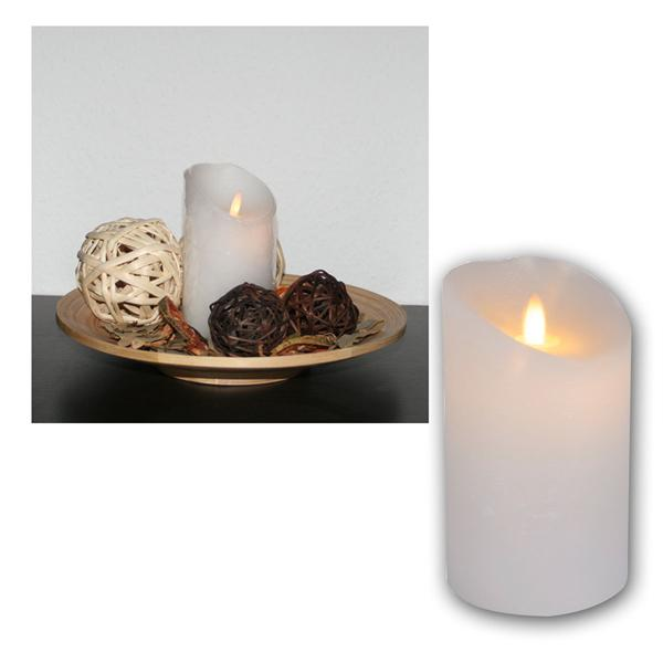 LED-Wachskerze Twinkle Flame, weiß, 15x8cm