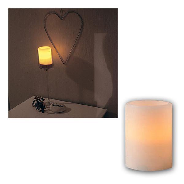 Kerze Echtwachs, 10x7,5cm, amber LED, flackernd