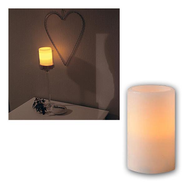 Kerze Echtwachs, 12x7,5cm, amber LED, flackernd