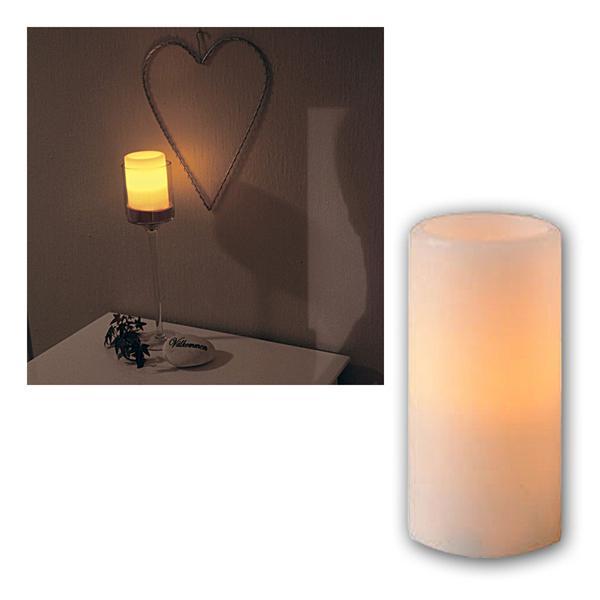 Kerze Echtwachs, 15x7,5cm, amber LED, flackernd