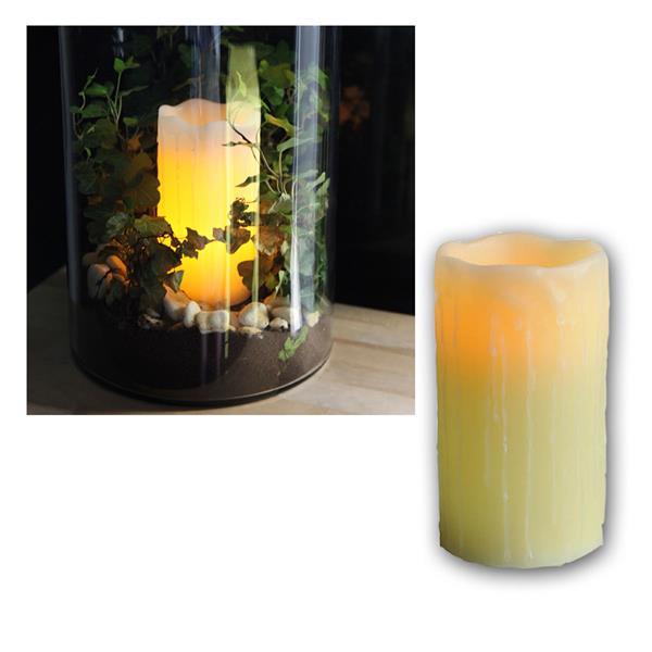 """Echtwachs LED Kerze """"Stumpen"""" 15x8cm, amber LED"""