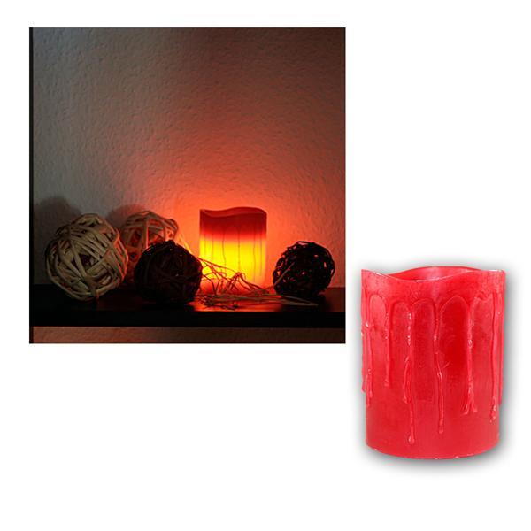 LED Kerze Echtwachs-Mantel, Rot, 10x8,5cm