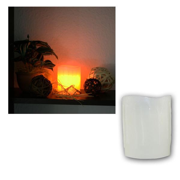 LED Kerze Echtwachs-Mantel, Elfenbein, 10x8,5cm