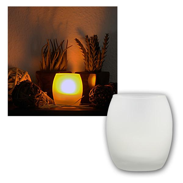 LED Windlicht / Kerze 9x8cm Anpusten/Anschütteln